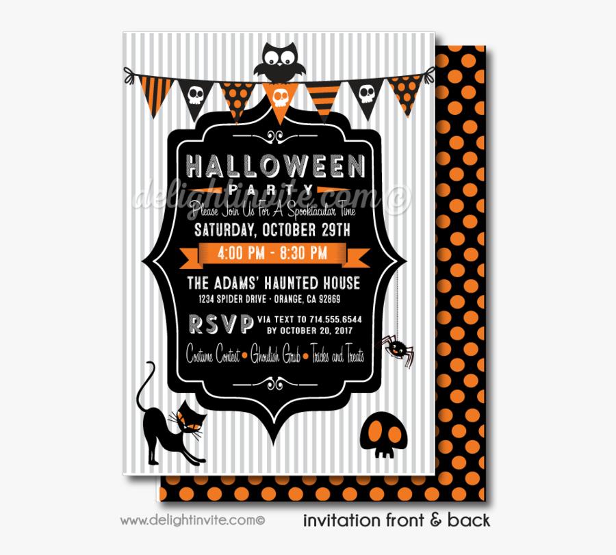 Clip Art Child Friendly Invitations Non - Invitation Card Halloween Party, Transparent Clipart