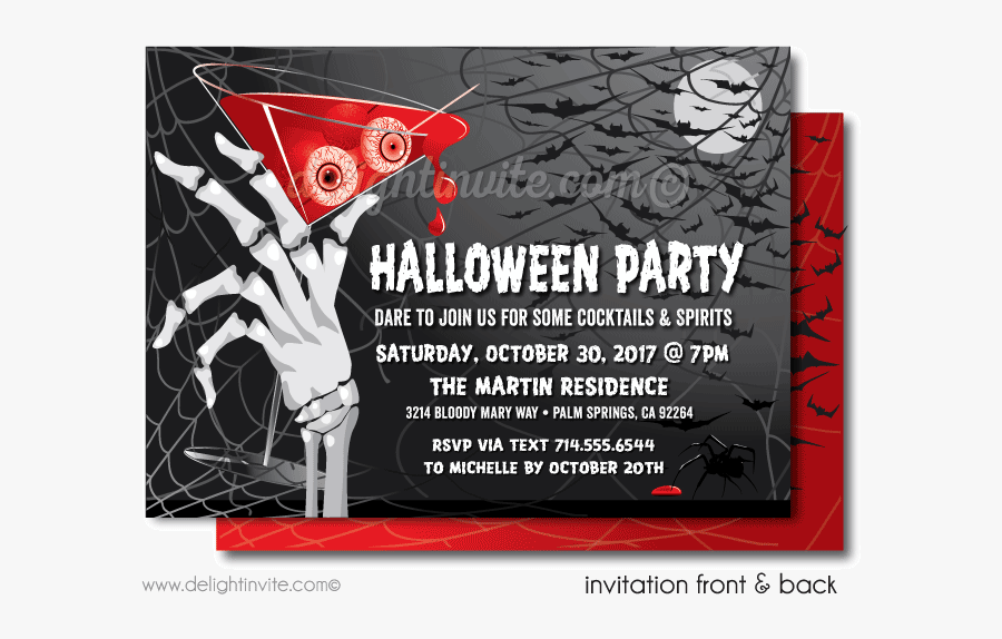 Clip Art Cocktail Party For Adults - Adult Birthday Halloween Invites, Transparent Clipart