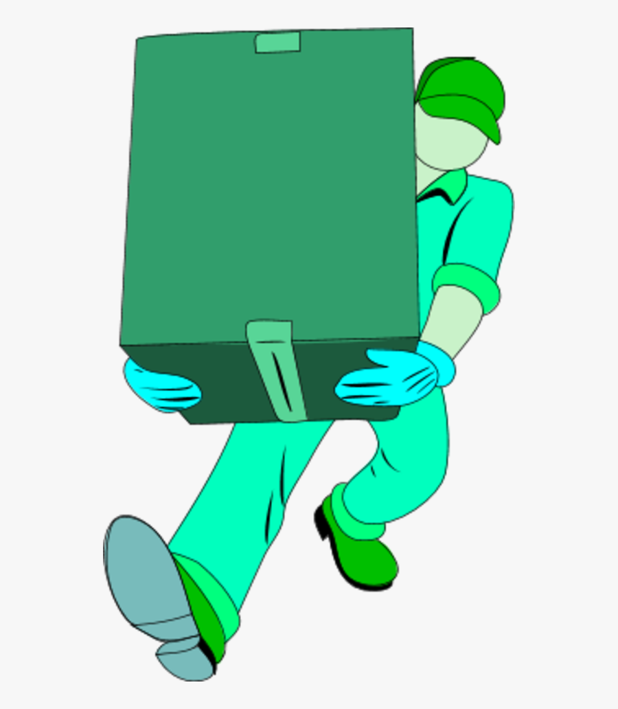 Warehouse Man Carrying A Closed Box - Carrying An Open Box Clipart, Transparent Clipart