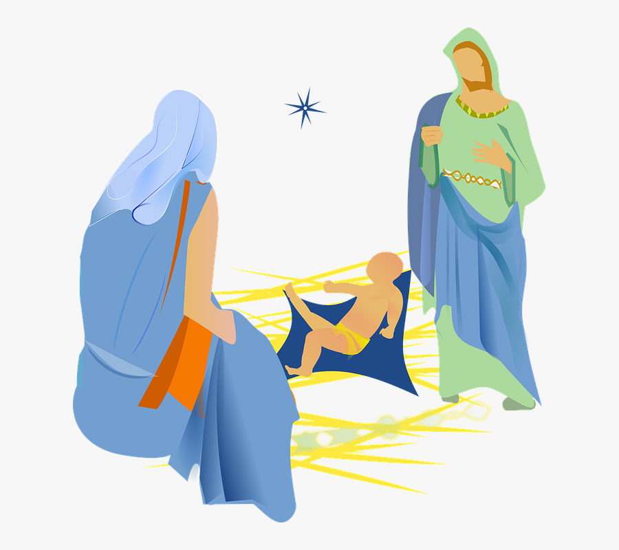 Mary and Joseph With Baby Jesus - Royalty Free Clipart Picture