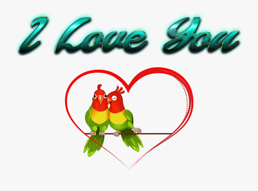 I Love You Hd Png Images - Clip Art Of Love Birds, Transparent Clipart
