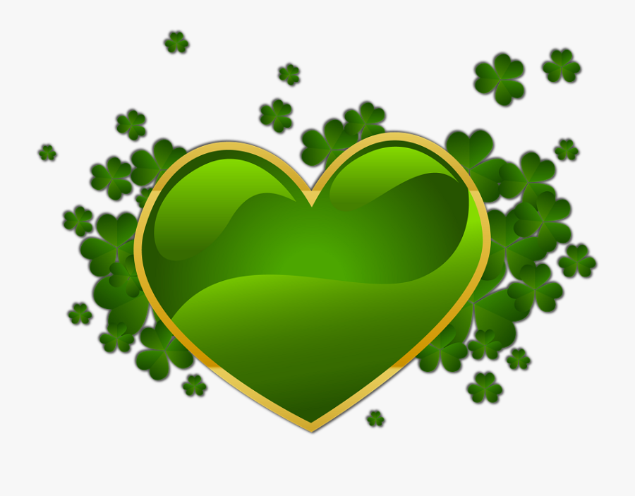 """March""""s Theme Will Be Clovers - St Patrick's Day Heart, Transparent Clipart"""