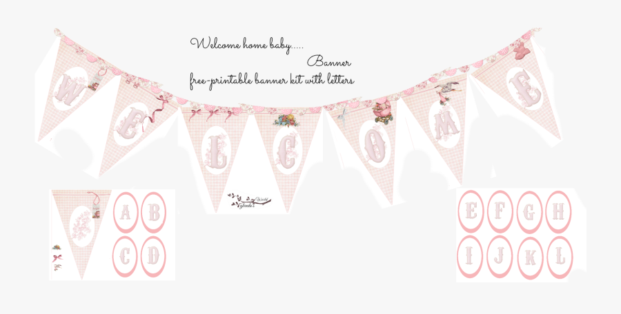 Clip Art Girly Banners - Printable Welcome Baby Girl, Transparent Clipart