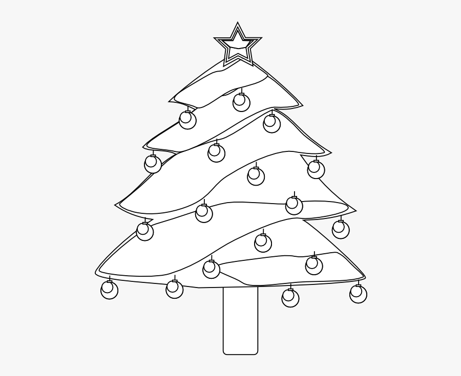 Lightly Decorated Evergreen 1 Christmas Black White - Christmas Tree, Transparent Clipart