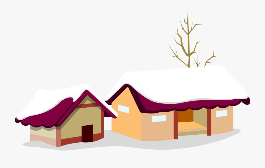 Santa Claus Christmas Village Christmas Card - Christmas Snow House Background, Transparent Clipart
