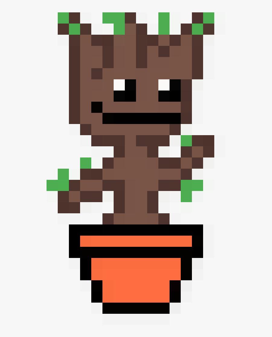 Baby Groot In A Pot - Pixel Art Baby Groot, Transparent Clipart