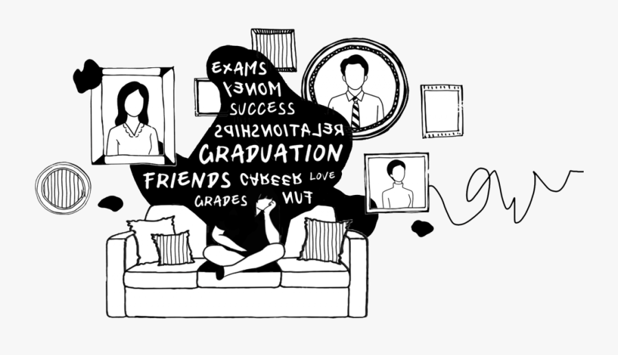 Student Anxiety Illustration, Transparent Clipart