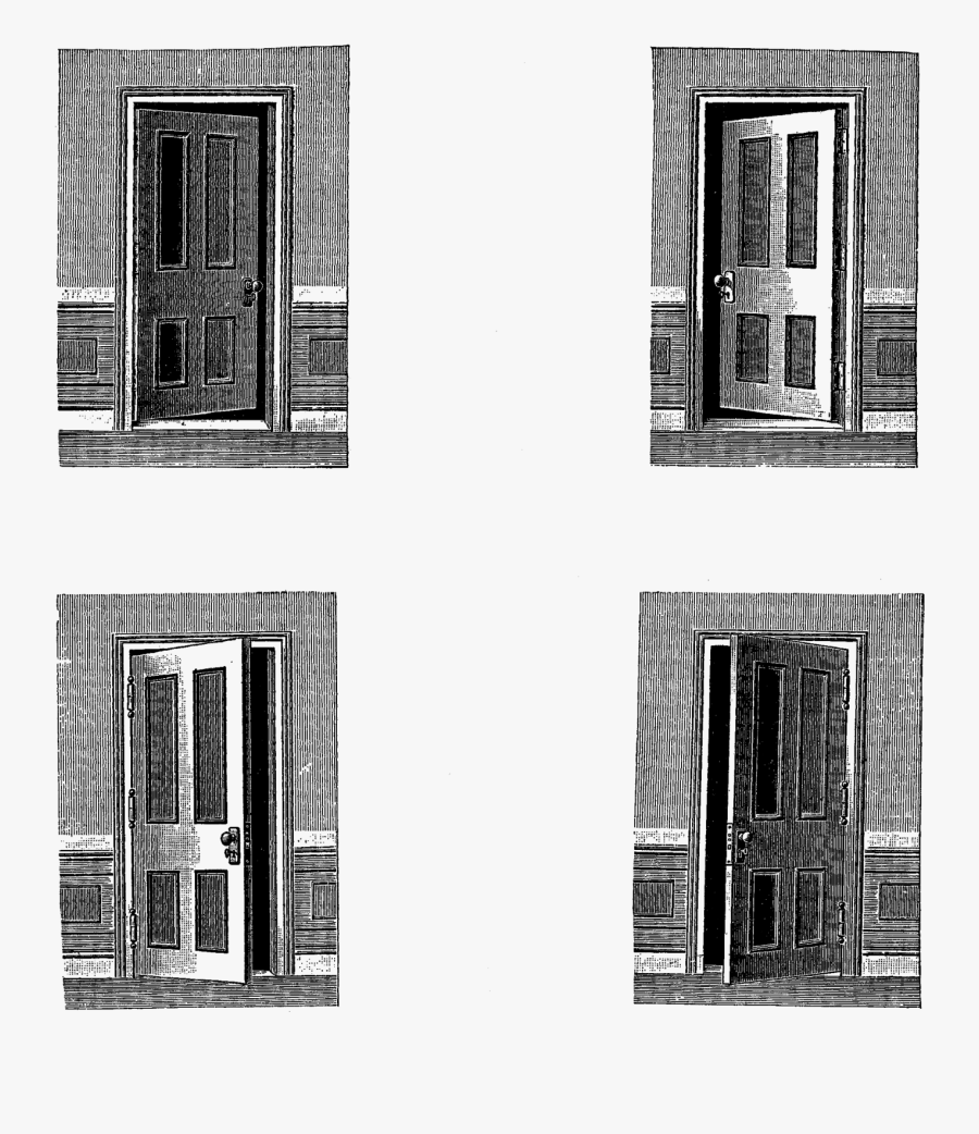 Open Door Vintage Illustration, Transparent Clipart