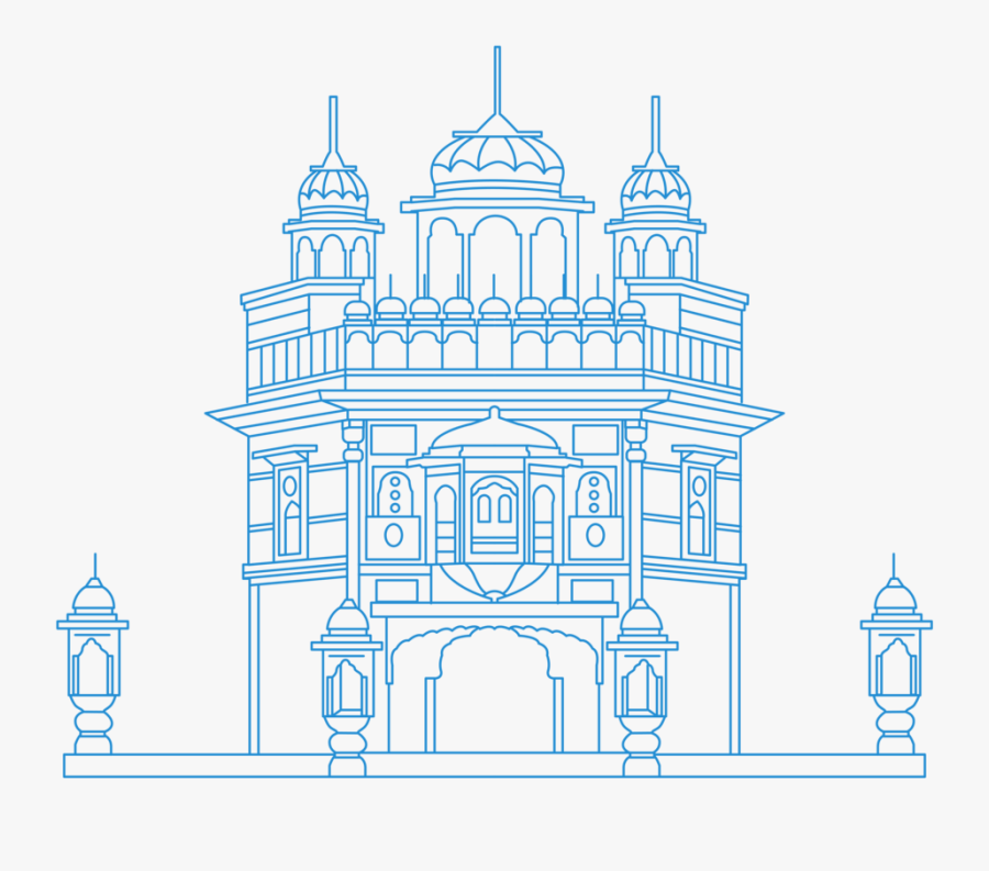 Clipart Royalty Free Download Sikhism For Beginners - Golden Temple Line Art, Transparent Clipart