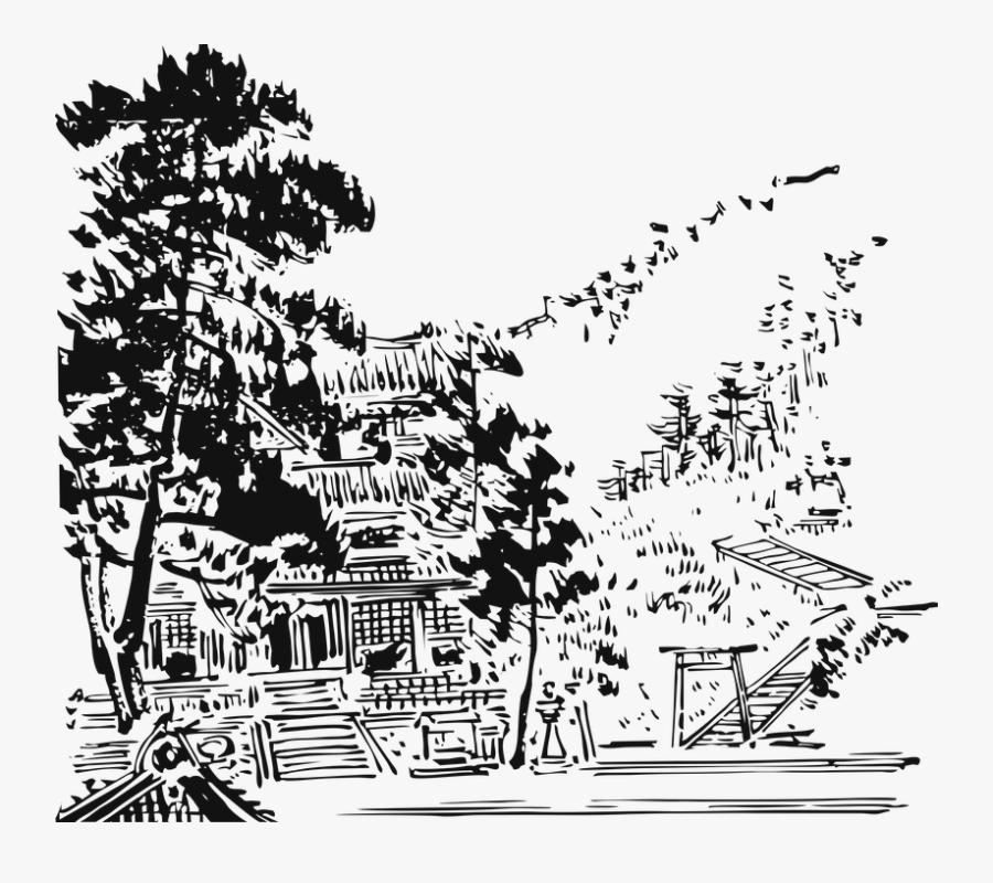 Asia, China, Japan, Temple, Art, Tree, Gazebo, Vector - T Shirt Design Oriental, Transparent Clipart