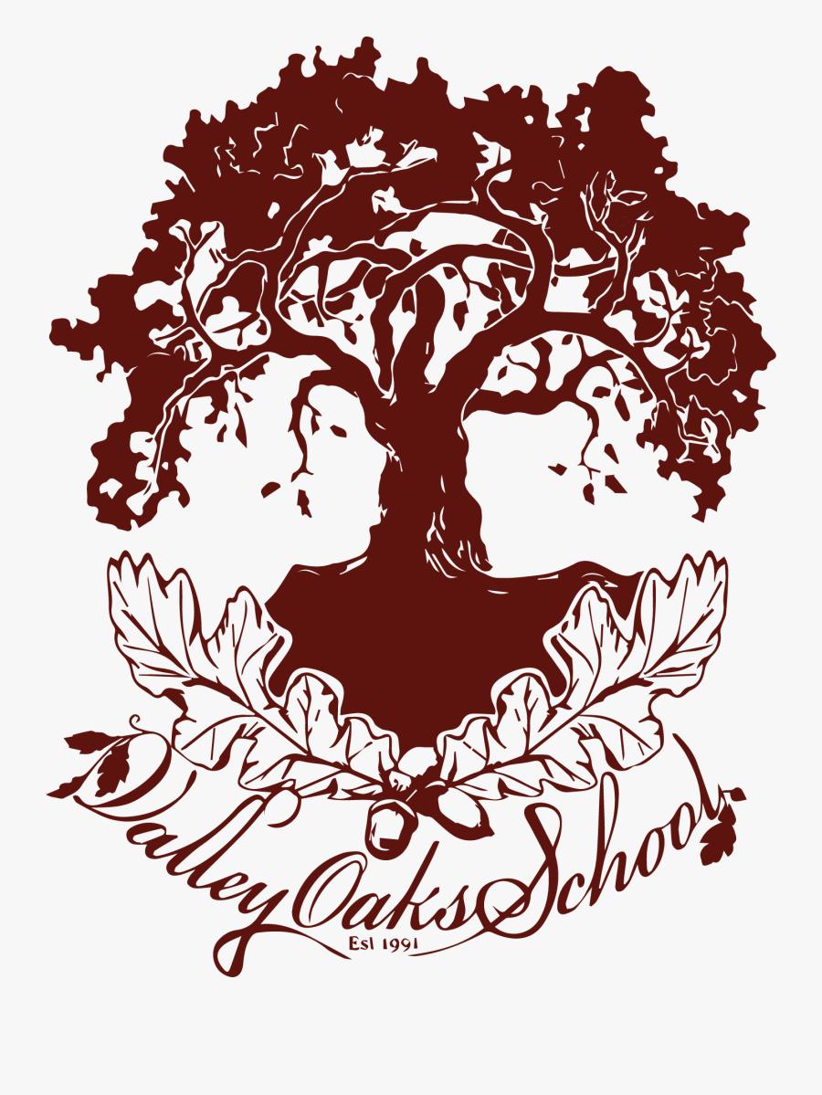 Oak Tree Line Drawing, Transparent Clipart