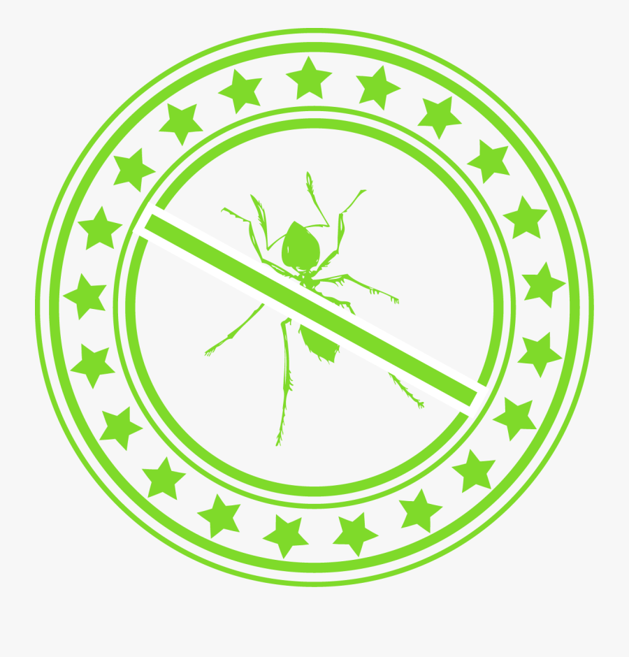 Green Circle With Star Border And A Green Ant With - Vector Graphics, Transparent Clipart