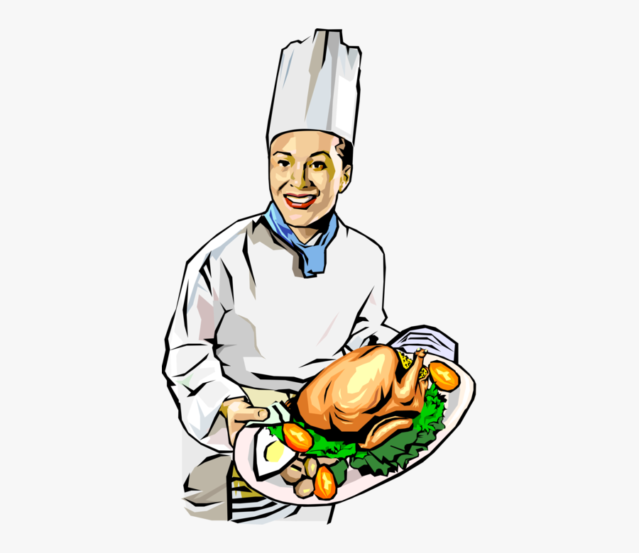Vector Illustration Of Culinary Cuisine Restaurant - Chef Cooking With Chicken, Transparent Clipart