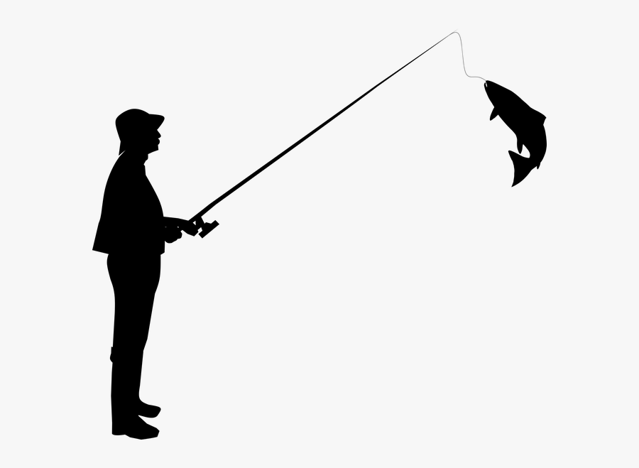 Fisherman Fishing Silhouette Photography Hobby - Silhouette Man Fishing, Transparent Clipart