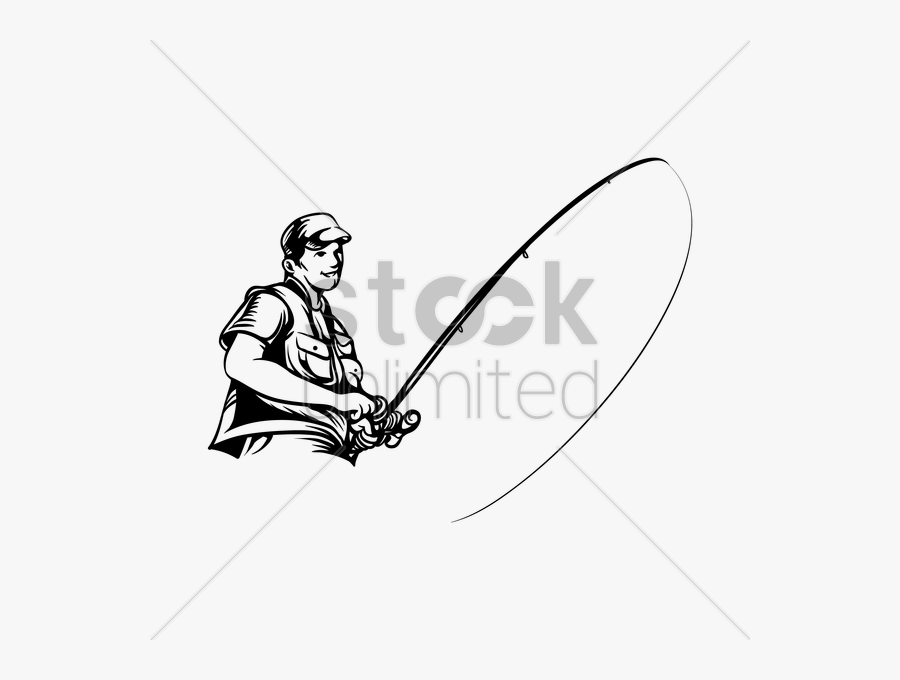 Fisherman With Rod Vector Gra - Illustration, Transparent Clipart