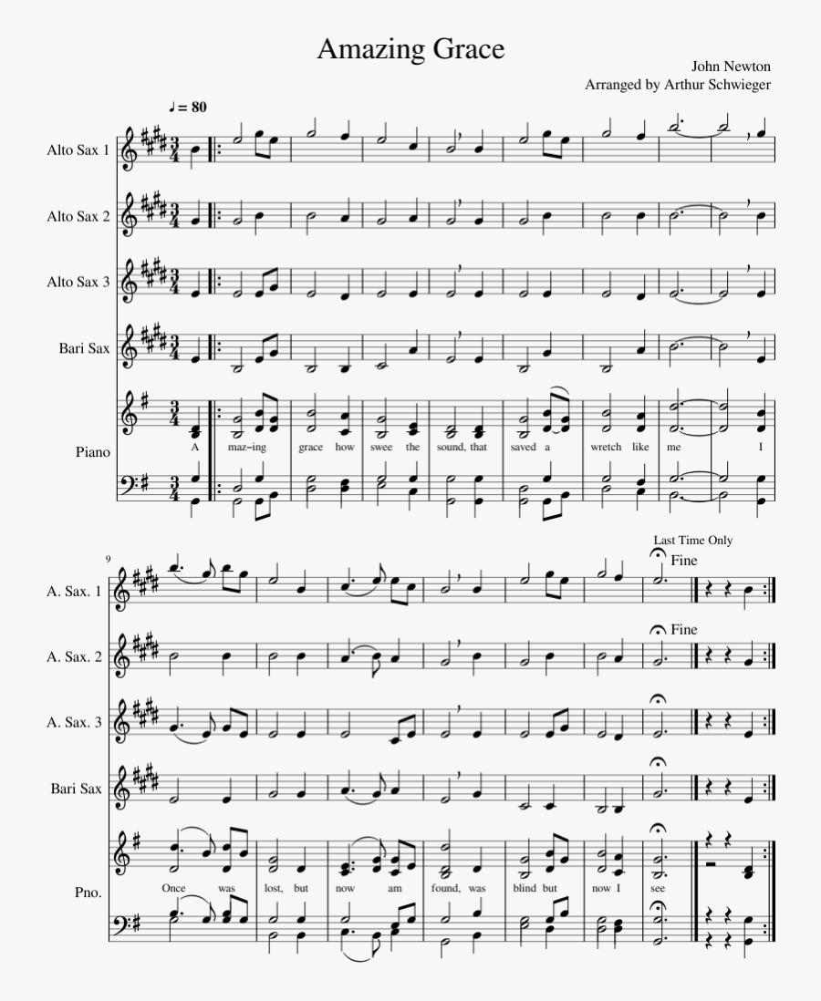 Amazing Grace Sheet Music Composed By John Newton Arranged - Alto Sax Amazing Grace Alto Saxophone Sheet Music, Transparent Clipart