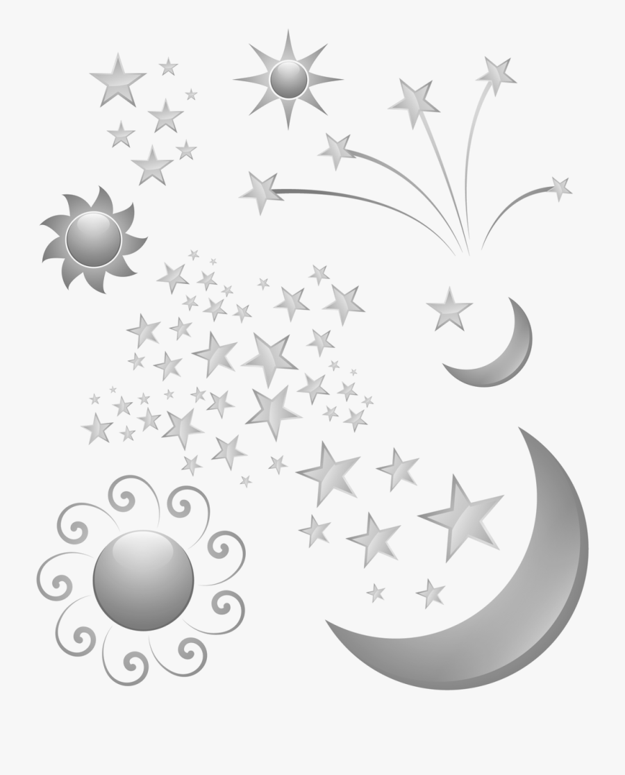 Transparent Moon And Stars Clipart Black And White - 16th Birthday Card Balloon Sparkle, Transparent Clipart