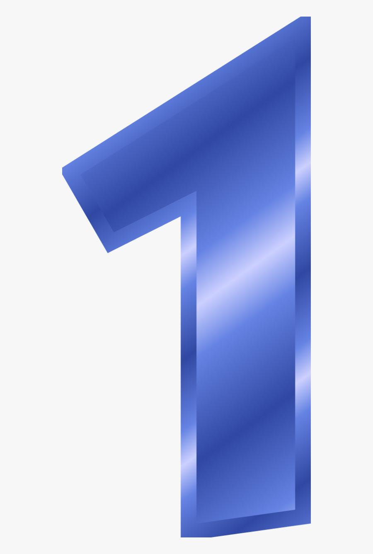 Number 1 Color Blue, Transparent Clipart