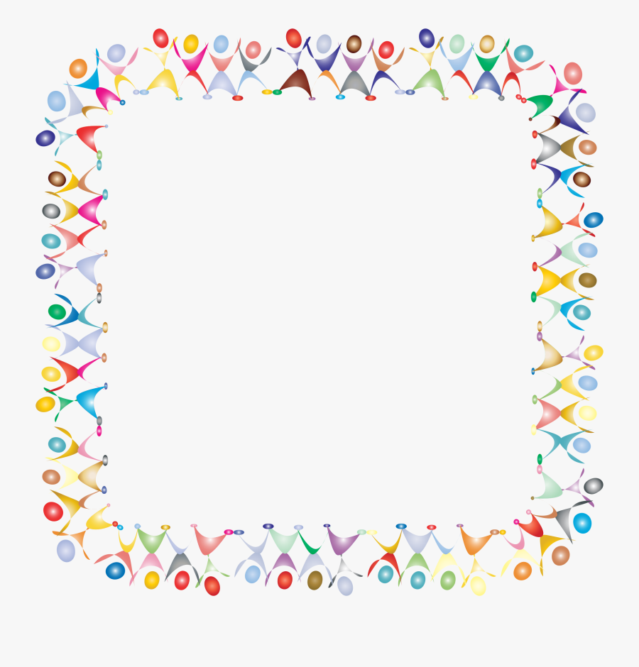 People Square Prismatic Icons - Colorful Music Notes Border, Transparent Clipart