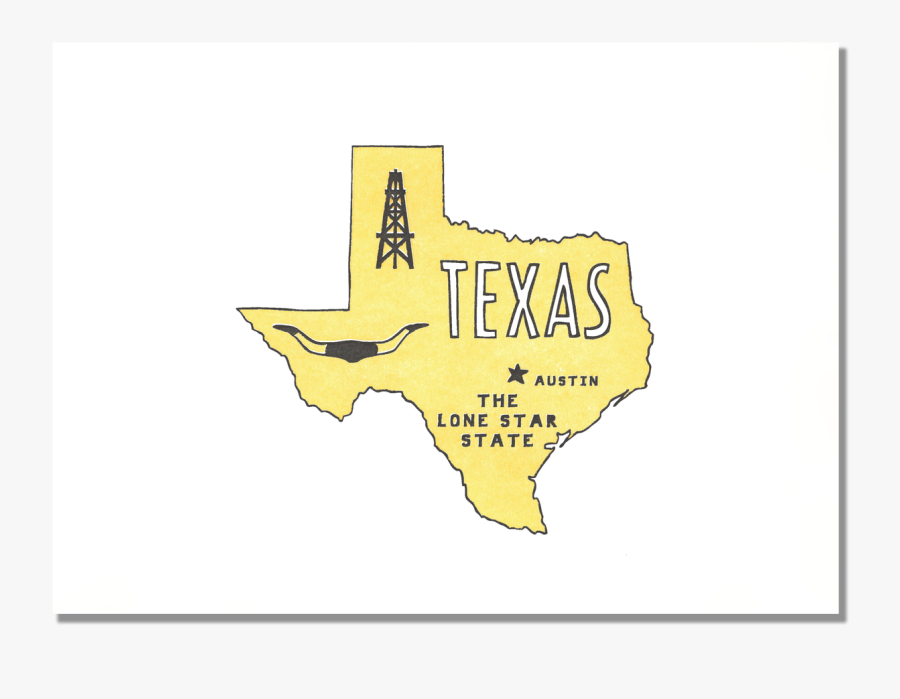 Texas State Print - Map, Transparent Clipart