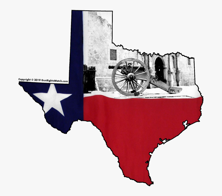 Texas Shape With State Flag And Alamo - Texas, Transparent Clipart
