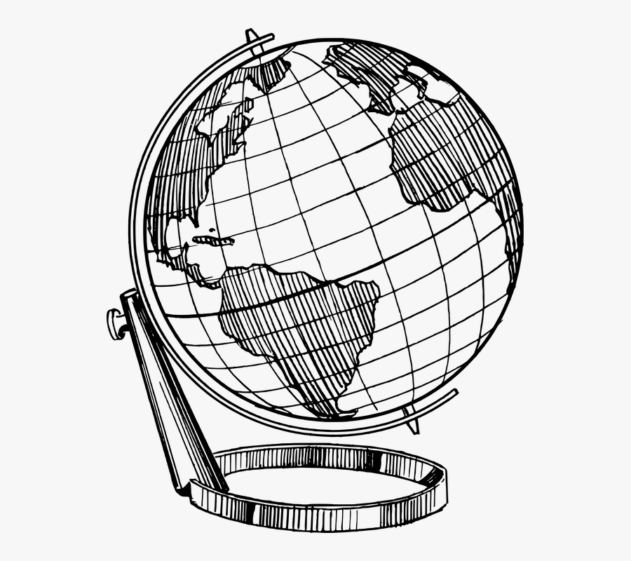 Continent Country Earth Globe Map Model Planet - Globe Drawing Png, Transparent Clipart
