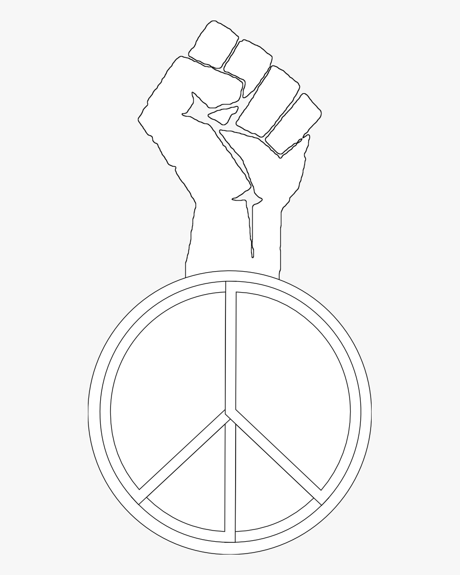 Peace To The People Black White Line Art Christmas - Black Power Coloring Pages, Transparent Clipart