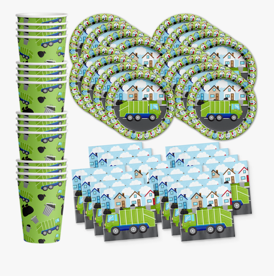 Garbage Truck Birthday Party Tableware Kit For 16 Guests - Garbage Truck Party Ideas, Transparent Clipart