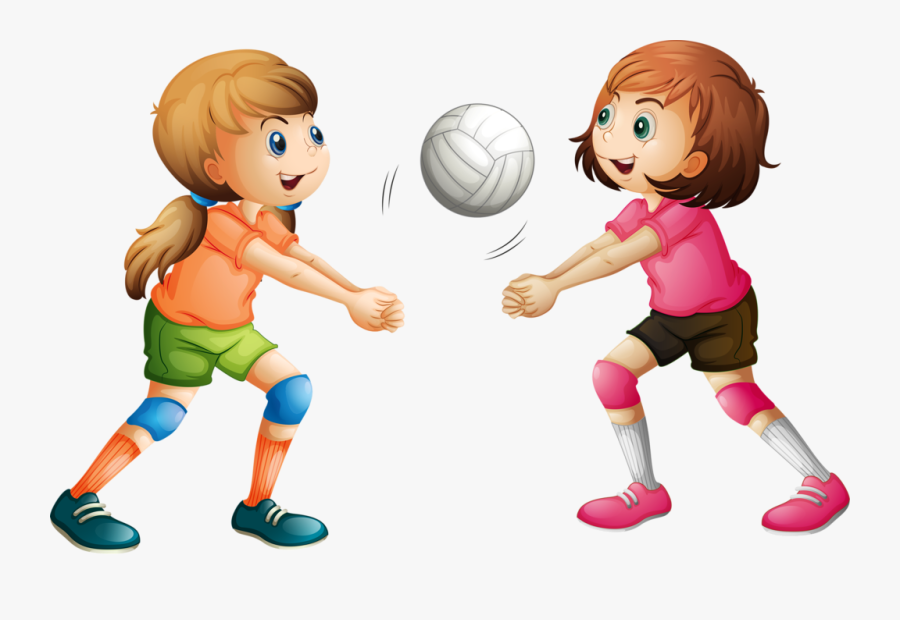 Clipart Child Volleyball - Girl Playing Sports Cartoon, Transparent Clipart