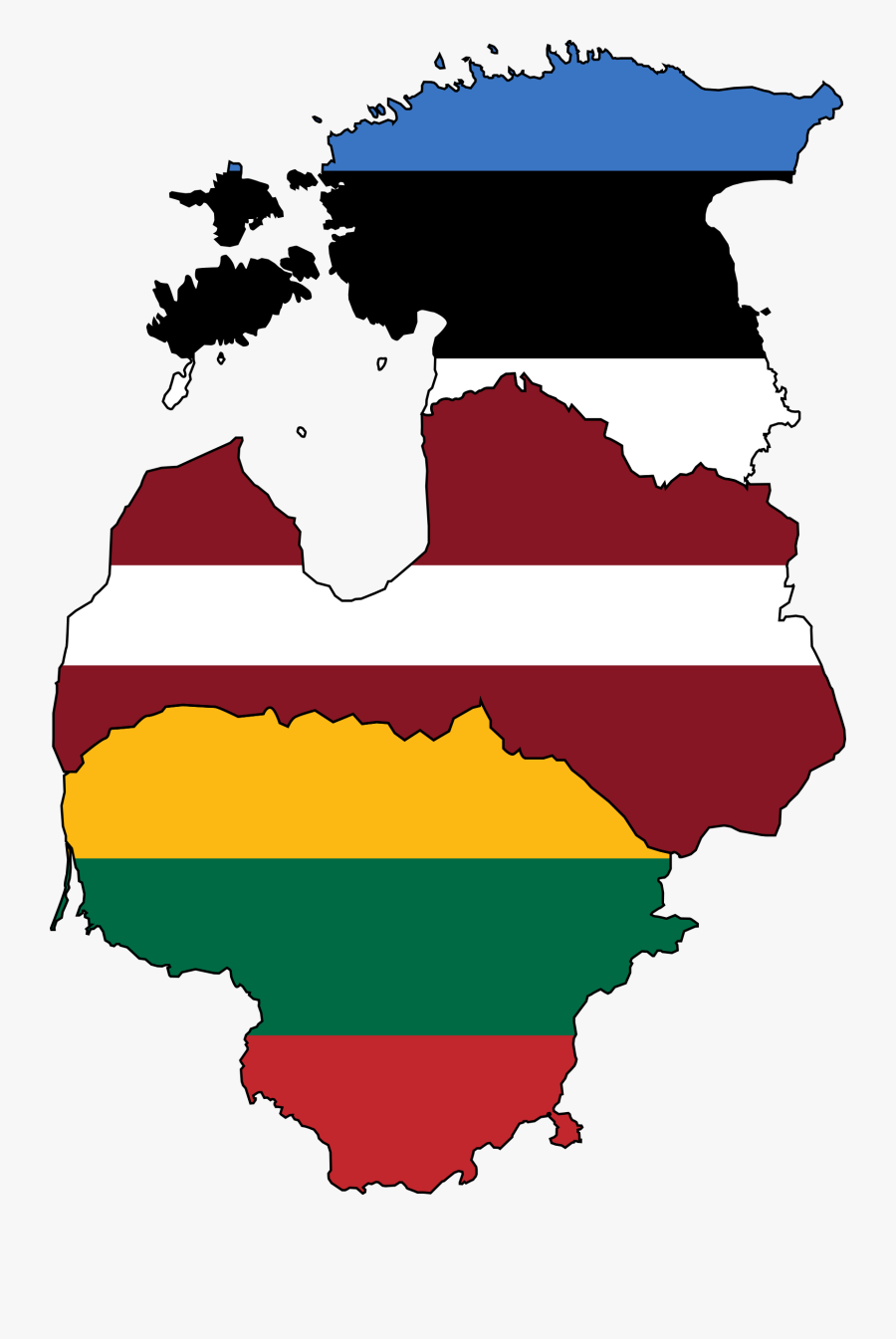 Baltic States Flag Map, Transparent Clipart