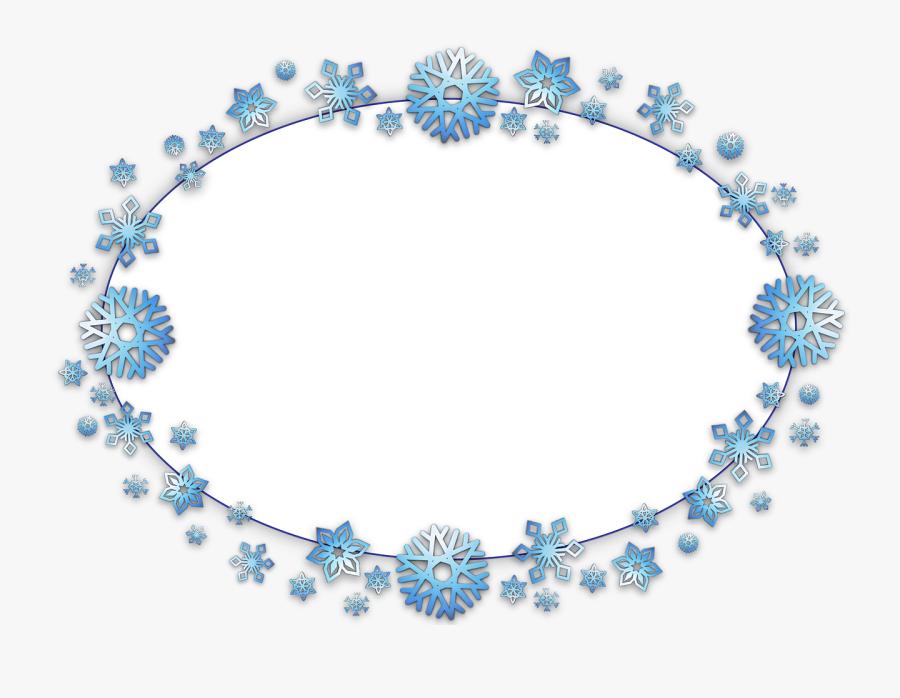 Frame, Border, Oval, Card, Xmas, Christmas, Snow, Flake - Ligthblue, Transparent Clipart