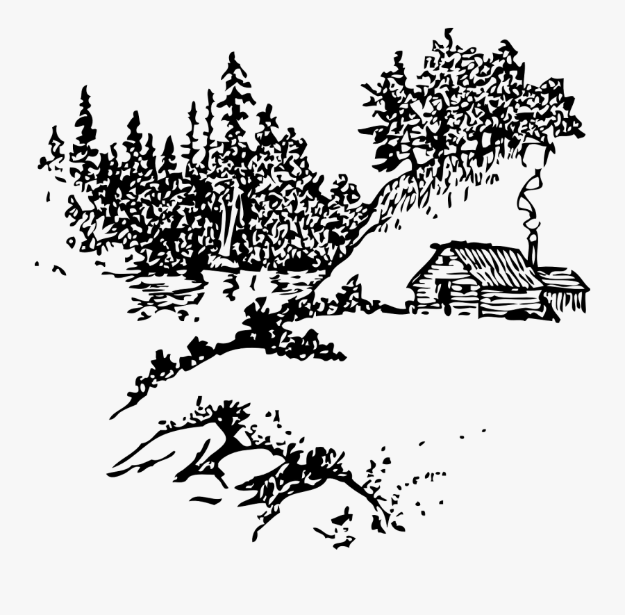 Cabin Mountains Woods Free Picture - Cabin In The Woods Outline, Transparent Clipart