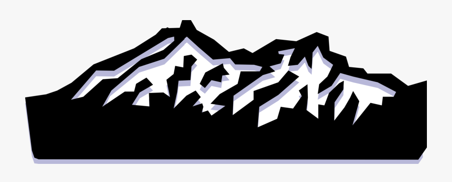 Vector Illustration Of Mountain Range With Snow-capped - Graphic Design, Transparent Clipart