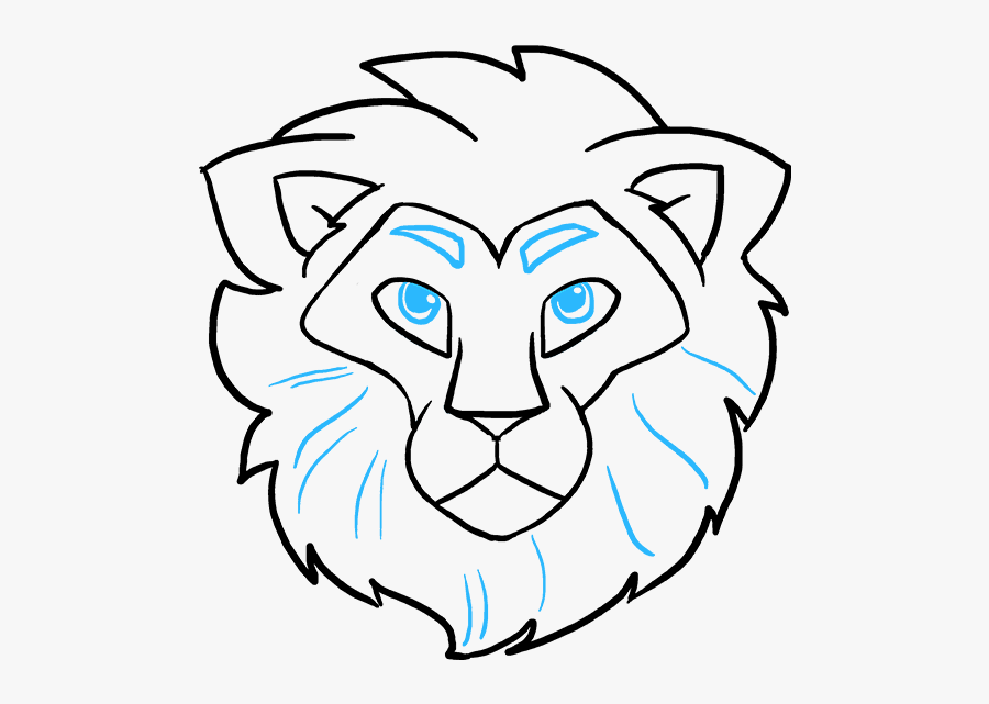 How To Draw A Lion Face - Draw A Lion Head Easy, Transparent Clipart