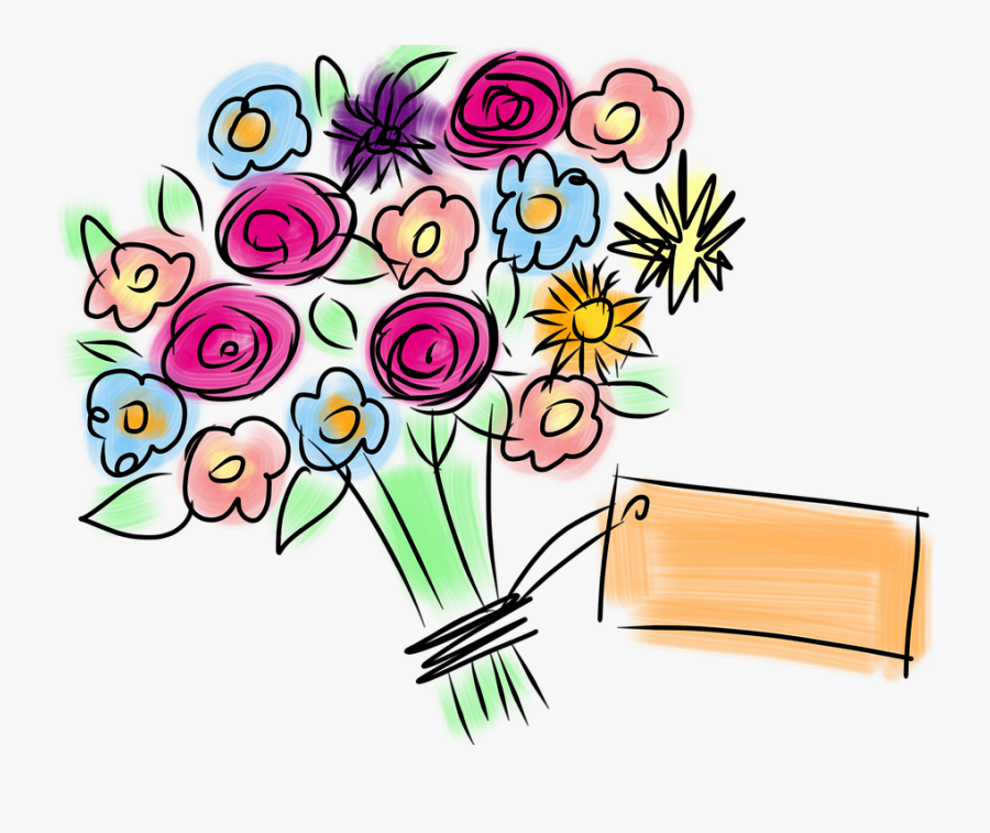 Bouquet, Flowers, Spring, Pink, Roses - Happy Feast Day Greeting Cards, Transparent Clipart