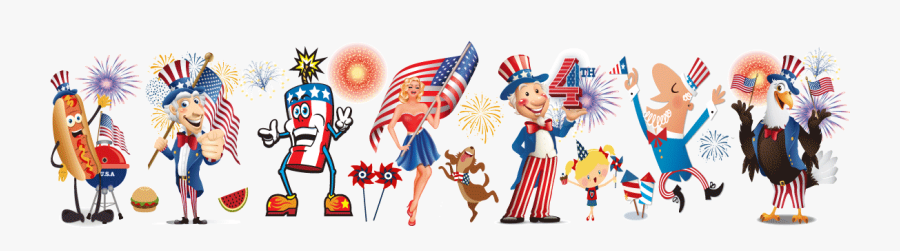 Clip Art Humorous Th Cards Harrison - Cartoon 4th Of July, Transparent Clipart