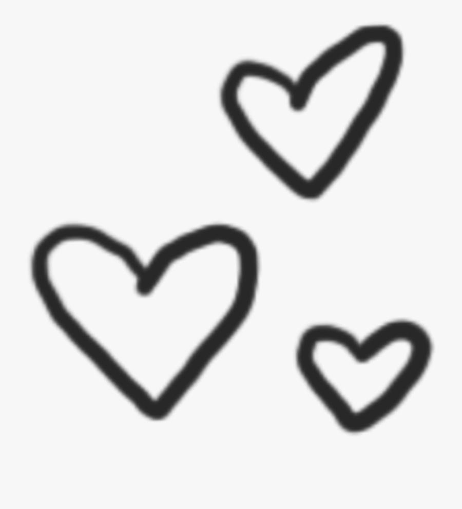 #heart #black #blackheart #cute #cuteheart - Aesthetic Doodle Heart Transparent, Transparent Clipart