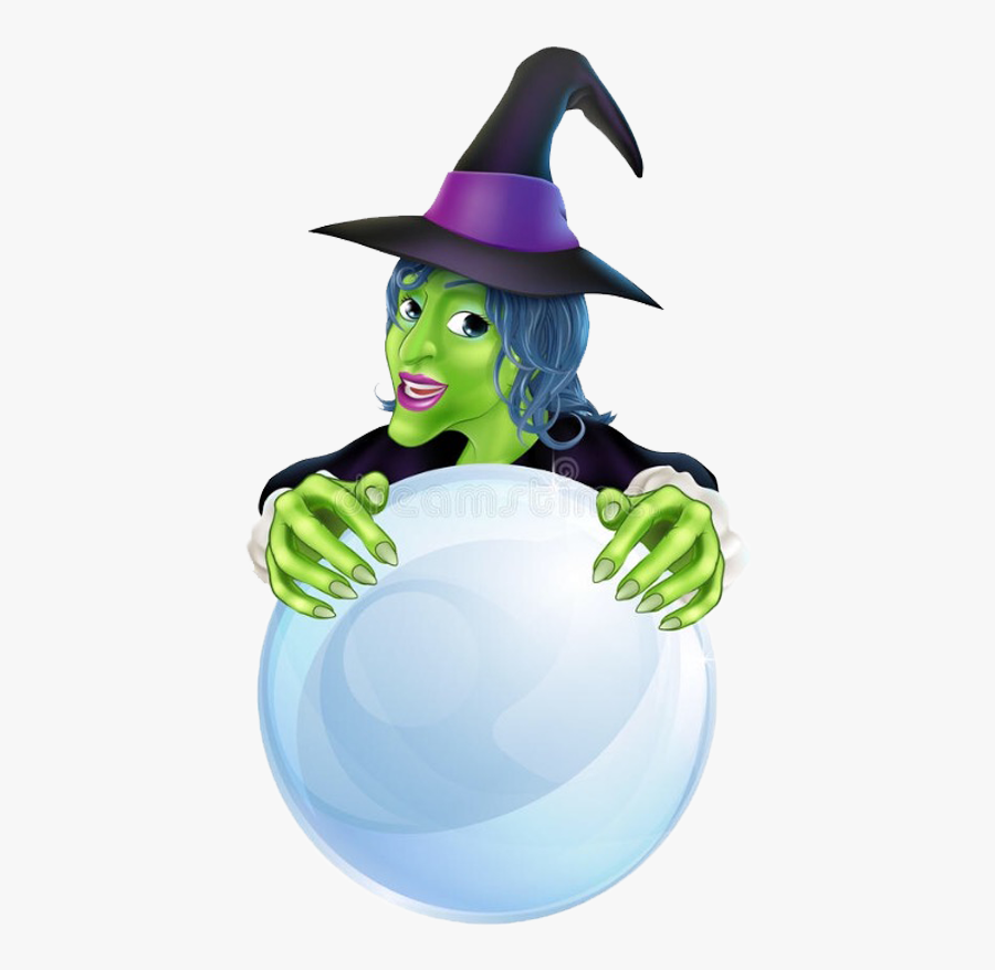 Witch With Crystal Ball Cartoon, Transparent Clipart