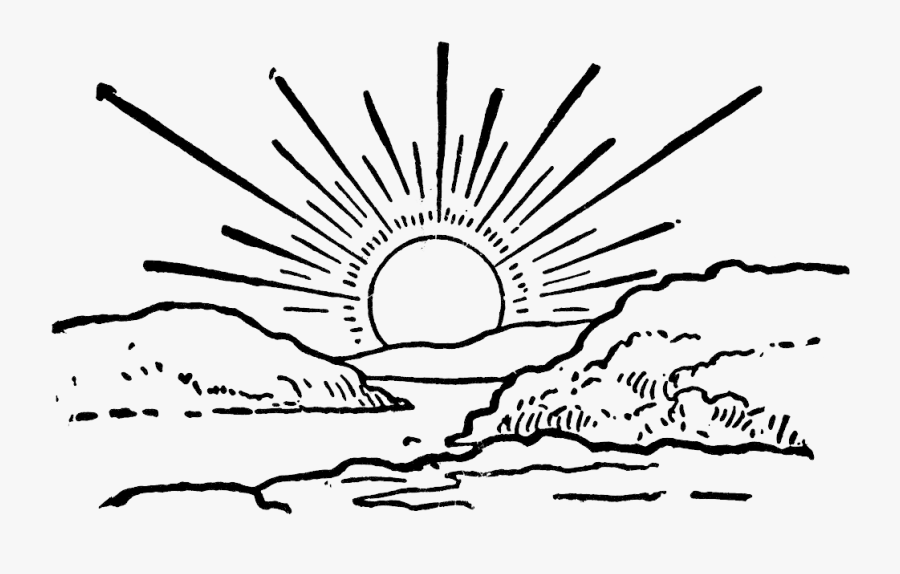 Sunrise Black And White Png Sun Rise Clipart Black And White