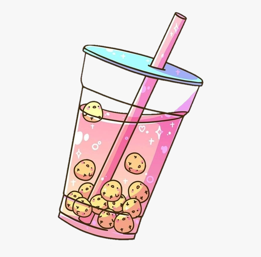 #chick #yellow #pink #drink #smoothie #cup #cute #aesthetic - Aesthetic Bubble Tea Art , Free ...