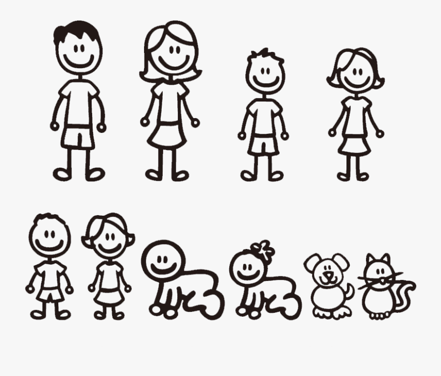 Family Car Stickers, Transparent Clipart