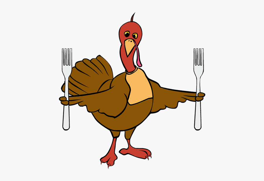 Clip Art Thanksgiving Turkey Forks - Turkey With Knife And Fork, Transparent Clipart