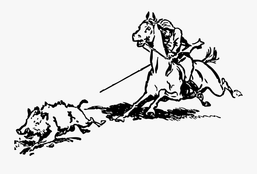 Cowboy, Hunting, Boar, Horse, Riding, Running, Wild - Quotation Charge Of The Light Brigade, Transparent Clipart