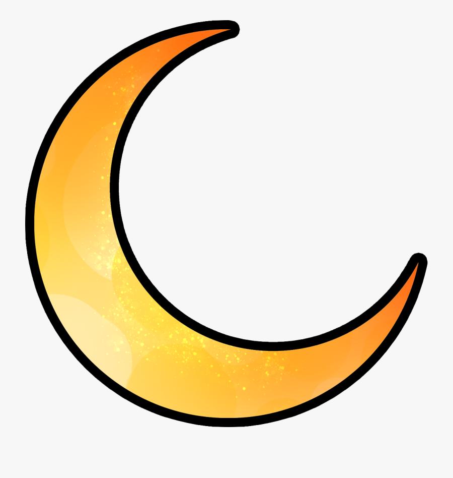 Moon Night Sky Clipart , Png Download - Gold Crescent Moon Png, Transparent Clipart
