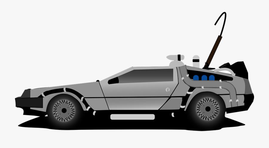 Delorean, Car, Time Machine, Back To The Future - Back To The Future Delorean Cartoon, Transparent Clipart