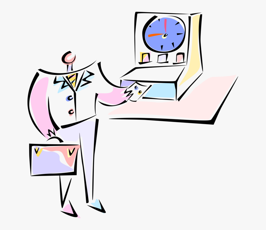 Vector Illustration Of Time Clock, Clock Card Machine - Punch Card Machine Cartoon Png, Transparent Clipart