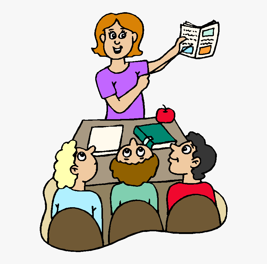 Clip Art Black And White Library Teacher Reading To - Open Your Book In Page, Transparent Clipart